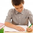 Happy schoolboy painting in the exercise book — Stock Photo