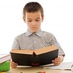 skolpojke läser en bok — Stockfoto