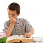 schooljongen lezen van een boek — Stockfoto #10782118