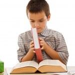 Gelukkig schooljongen met boeken — Stockfoto #10782164