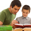 Stock Photo: Schoolboy and his father learning