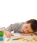 Schoolboy sleeping — Stock Photo