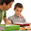 Schoolboy and his father learning — Stock Photo