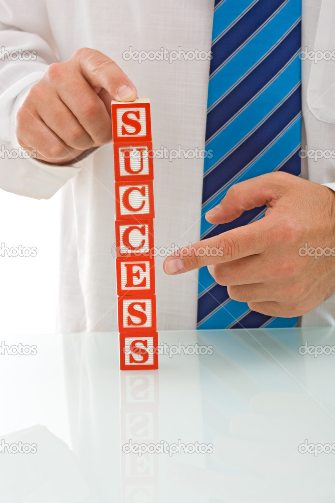 Businessman showing at SUCCESS sign - isolated — Stock Photo #10861345