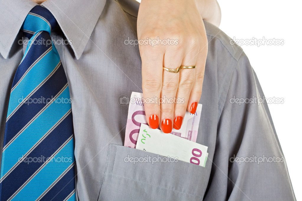 Woman take out the money from the pocket - isolated — Stock Photo #11033475