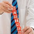 Businessman with blocks — Stock Photo