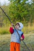 Niña jugando afuera — Foto de Stock
