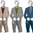 Sketch of fashion handsome man. Vector illustration — Image vectorielle
