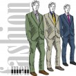 Sketch of fashion handsome man. Vector illustration - Stock Vector