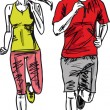 Sketch of couple marathon runners. Vector illustration — Stock Vector #10965021