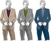 Sketch of fashion handsome man. Vector illustration — Stock Vector