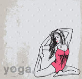Abstract Sketch of Woman meditating and doing yoga. Vector illus — Stockvector