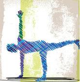 Abstrakt skiss av kvinna meditera och göra yoga. vektor illustrationer — Stockvektor