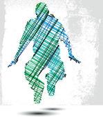 Schets van de mens opgeschort in de lucht. vectorillustratie — Stockvector