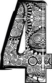 Number 4 with abstract drawing. Vector illustration — Stockvektor