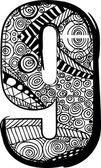 Anzahl mit abstrakten Zeichnung. Vektor-illustration — Stockvektor