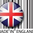 Made in England barcode. Vector illustration — Stock Vector