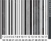 Generic DECEMBER Calendar, Barcode Design. vector illustration — Stock Vector