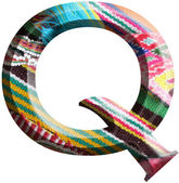 Letter Q made with hand made woolen fabric — Stock Photo