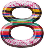 Number 8 made with hand made woolen fabric — Stock Photo