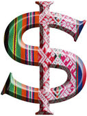 Dollar Symbol made with hand made woolen fabric — Stock Photo