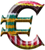 Euro Symbol made with hand made woolen fabric — Stock Photo