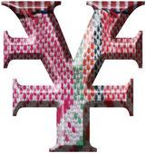 Yenen symbol gjorde med handgjorda ylle tyg — Stockfoto