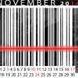 NOVEMBER 2014 Calendar, Barcode Design. vector illustration - Stock Vector