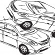 Royalty-Free Stock Vector Image: Sketch of Two cars in an accident isolated on a white background