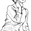 Royalty-Free Stock Imagem Vetorial: Sketch of Young beautiful female talking on cell phone isolated