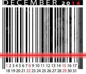 DECEMBER 2014 Calendar, Barcode Design. vector illustration — Stock Vector