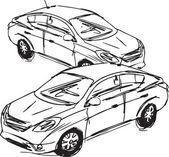 Bosquejo de los coches. ilustración vectorial — Vector de stock