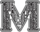 Ancient letter M. Vector illustration — Stock Vector