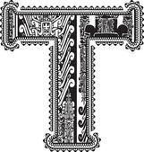 Ancient letter T. Vector illustration — Stock Vector