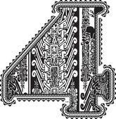 Eski sayı 4. vektör çizim — Stok Vektör