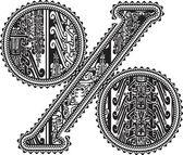 Symbole de pourcentage avec dessin ancien. illustration vectorielle — Vecteur
