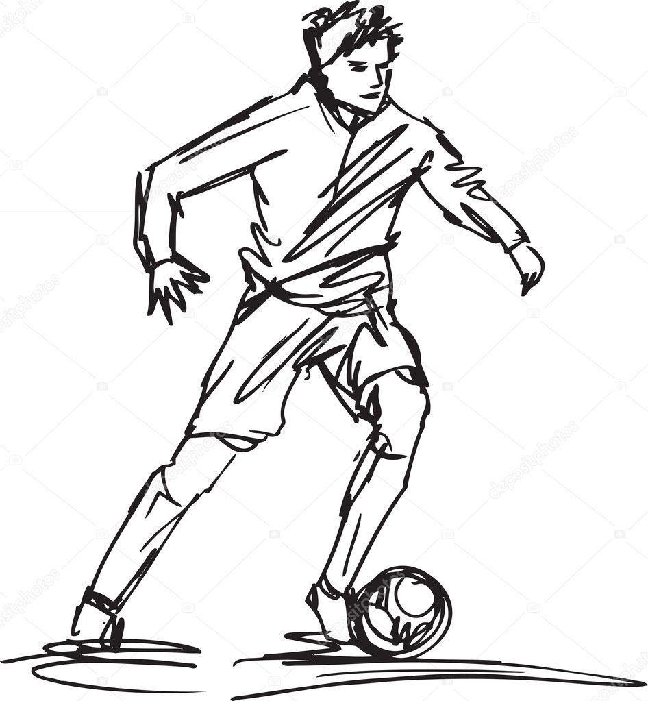 sketch of soccer player kicking ball  vector illustration  u2014 stock vector  u00a9 designfgb  11942698