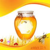 Floral achtergrond met honing — Stockvector