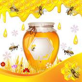 Sfondo floreale con miele — Vettoriale Stock