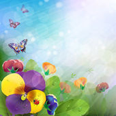 Fondo floral, flores coloridas trinitarias — Vector de stock