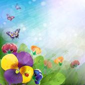 Květinové pozadí, barevné macešky květiny — Stock vektor