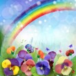 Floral background,rainbow, colorful pansies flowers — Stock Vector
