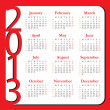 Stock Vector: Calendar for Year 2013