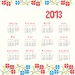 Stock Vector: 2013 cross stitch ethnic calendar