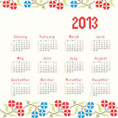 2013 cross stitch ethnic calendar — Stock Vector
