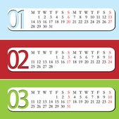 Three Month calendar for year 2013. — Stock Vector
