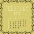 February 2013. - Stock Vector