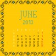 June 2013. — Stock Vector