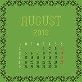 August 2013. — Stock Vector