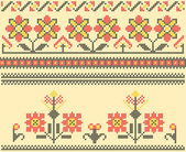 Cross stitch folk sewing — Vector de stock